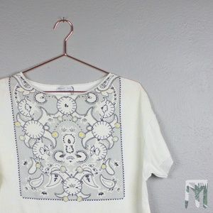 ZARA Basic Collection Paisley Embroidered T-Shirt